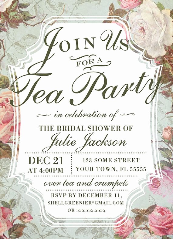 Tea Party Invitation Template Elegant Bridal Shower Tea Party Invitation Template Vintage Rose