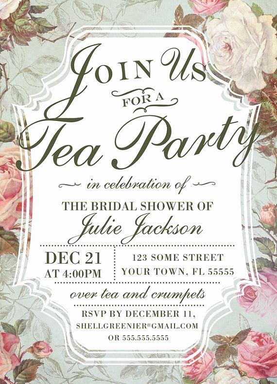 Tea Party Invitation Template Elegant Bridal Shower Tea Party Invitation Template Vintage Rose