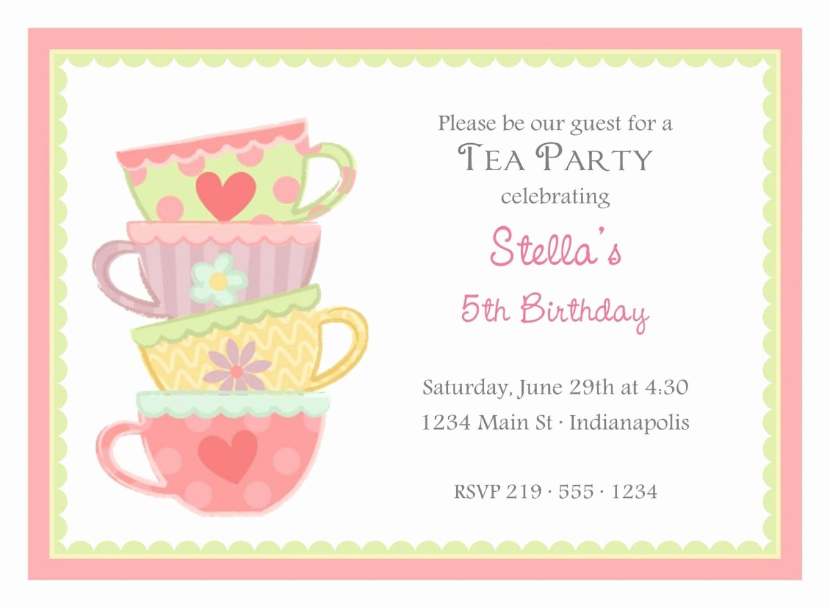 Tea Party Invitation Template Elegant Free afternoon Tea Party Invitation Template