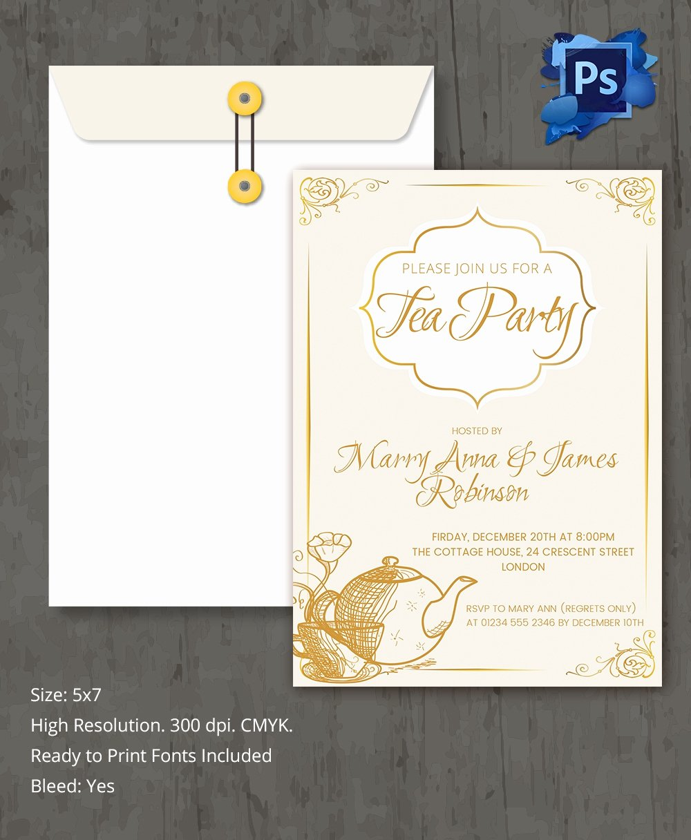 Tea Party Invitation Template Fresh 22 Tea Party Invitation Templates
