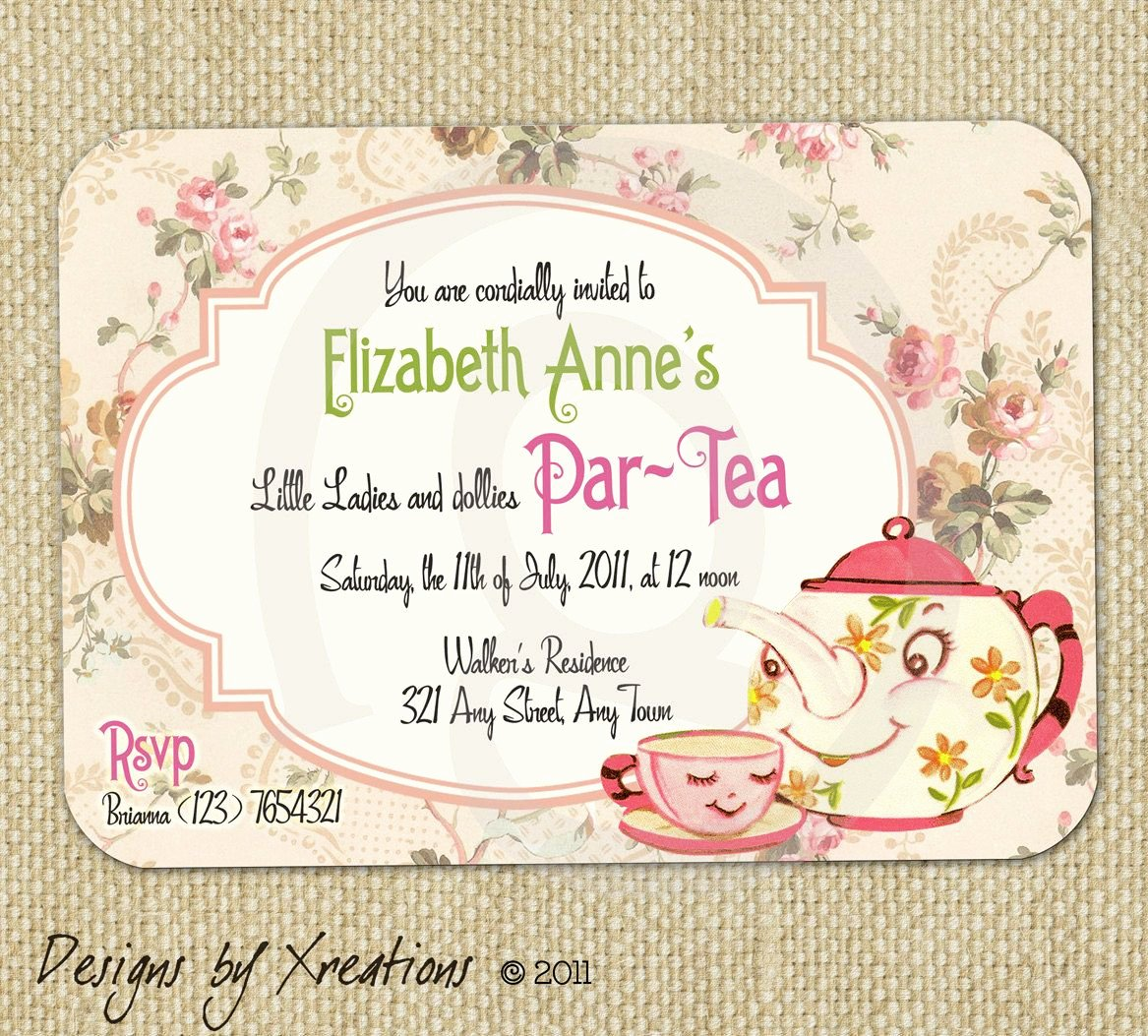 Tea Party Invitation Template Lovely Cute Vintage Tea Party Invitation Digital Template