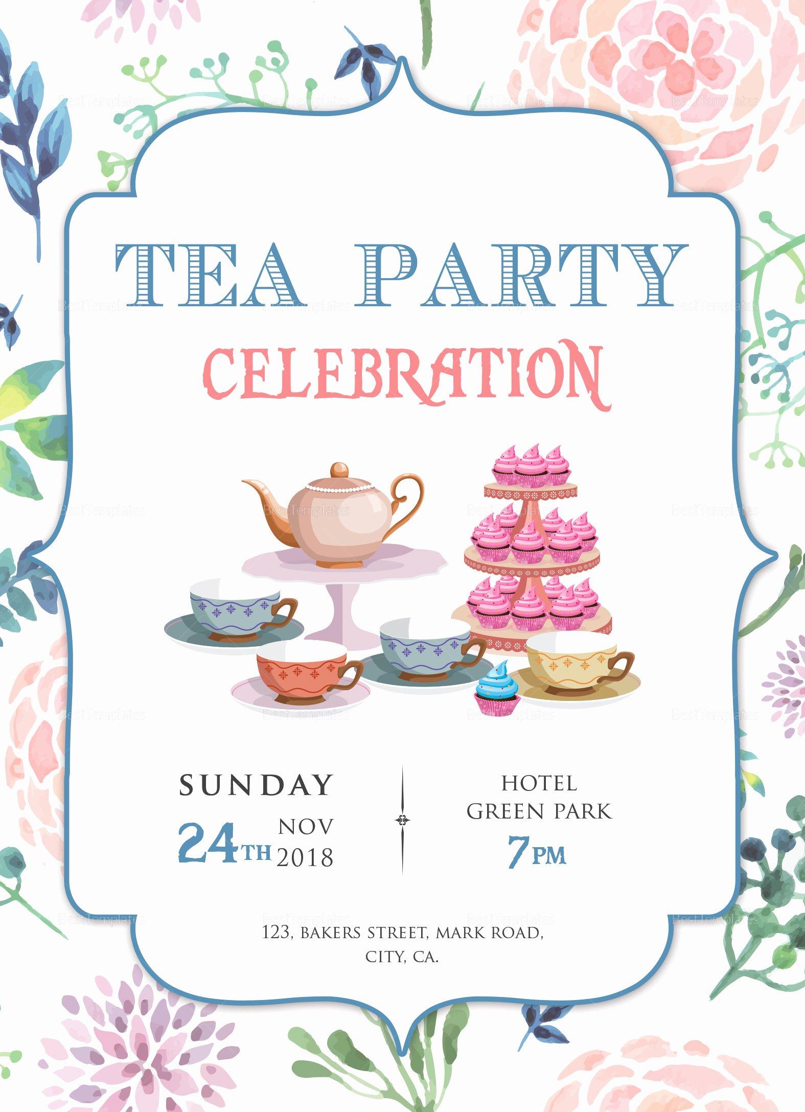 Tea Party Invitation Template Lovely Elegant Tea Party Invitation Design Template In Word Psd