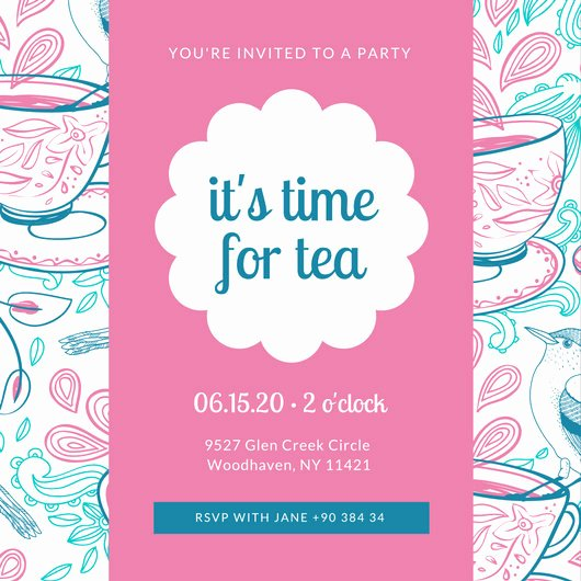 Tea Party Invitation Template Luxury Customize 128 Tea Party Invitation Templates Online Canva