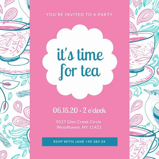 Tea Party Invitation Template Luxury Customize 128 Tea Party Invitation Templates Online Canva