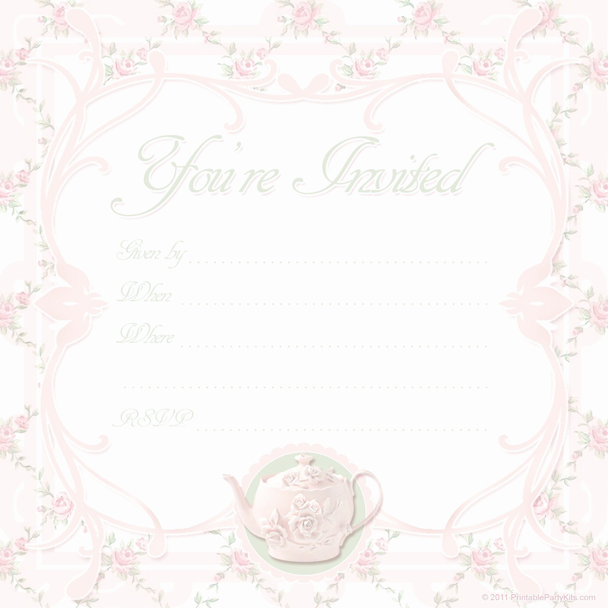 Tea Party Invitation Template Luxury Free Printable Tea Party Invite Template