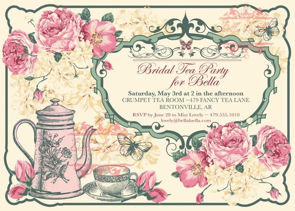Tea Party Invitation Template Luxury Free Vintage Tea Party Invitation Template