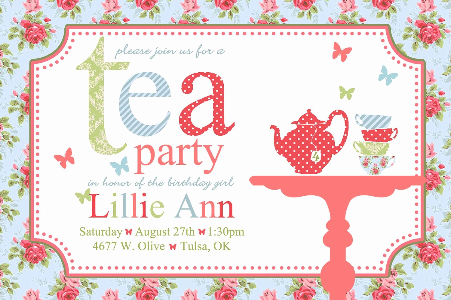 Tea Party Invitation Template Unique Free afternoon Tea Invitation Template