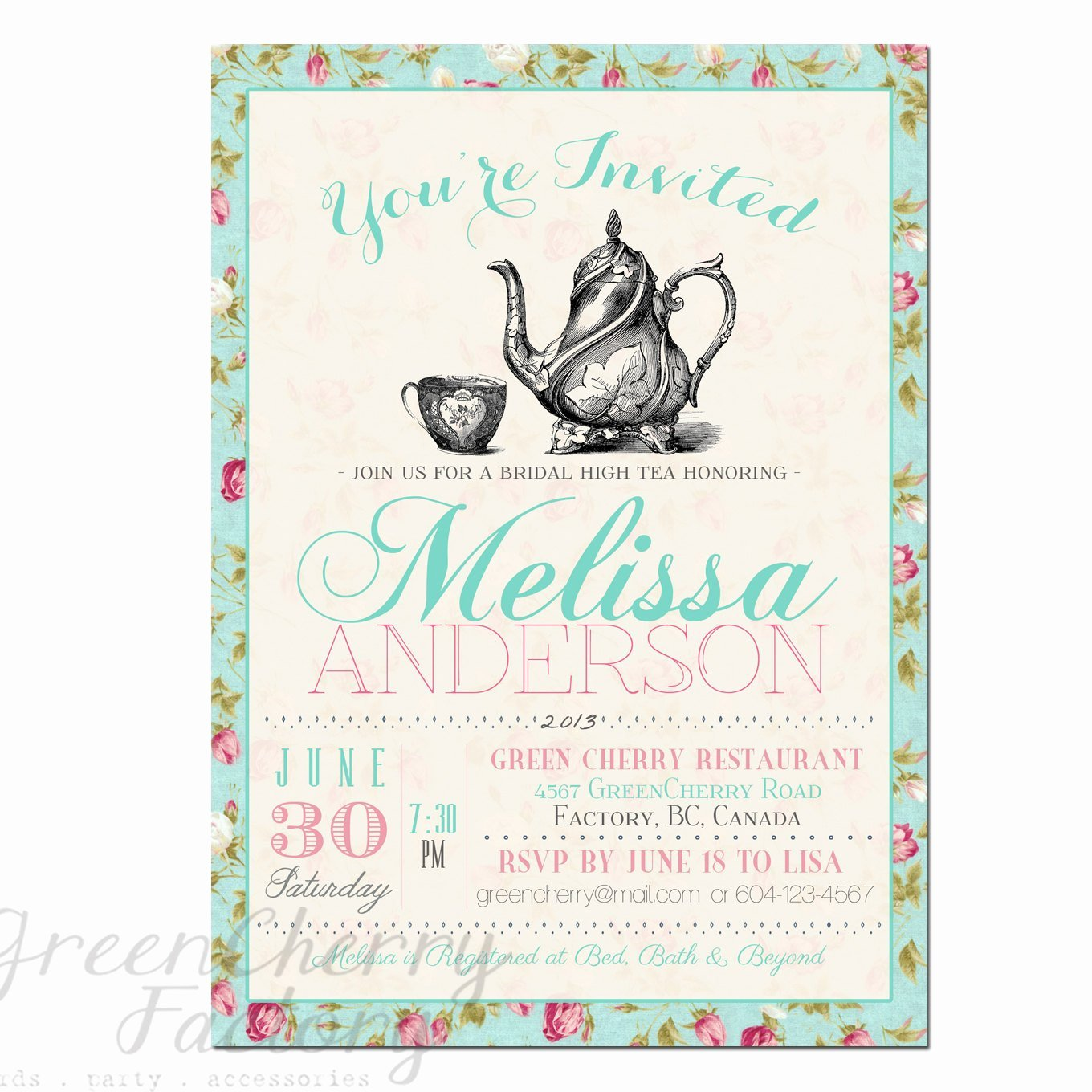 Tea Party Invitation Template Unique Items Similar to Tea Party Invitation Typography High