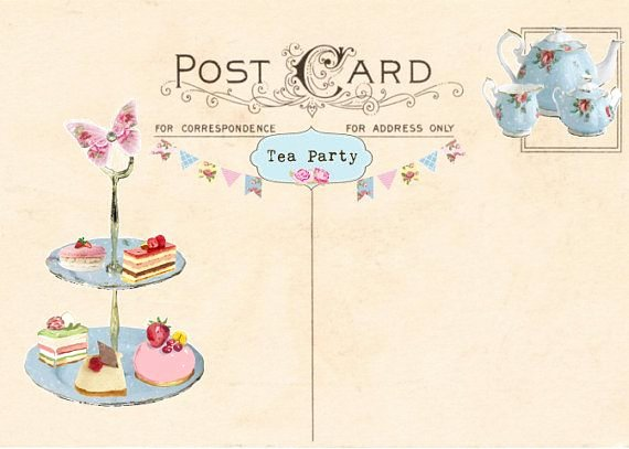 Tea Party Invitation Template Unique Vintage Tea Party Invitation Tea Party Postcard