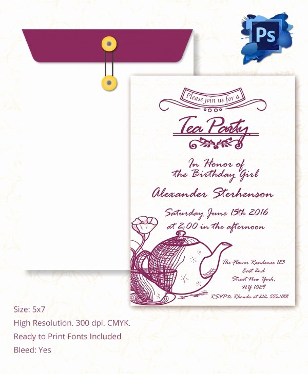 Tea Party Invite Template Awesome Sample Invitation Template Download Premium and Free