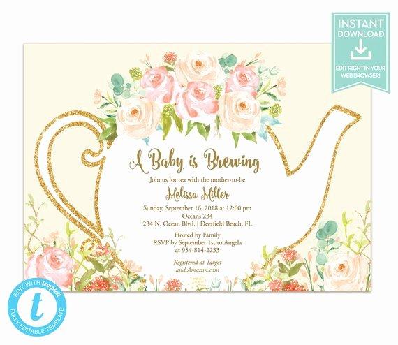 Tea Party Invite Template Beautiful Tea Party Invitation Template Floral Teapot Bridal Shower