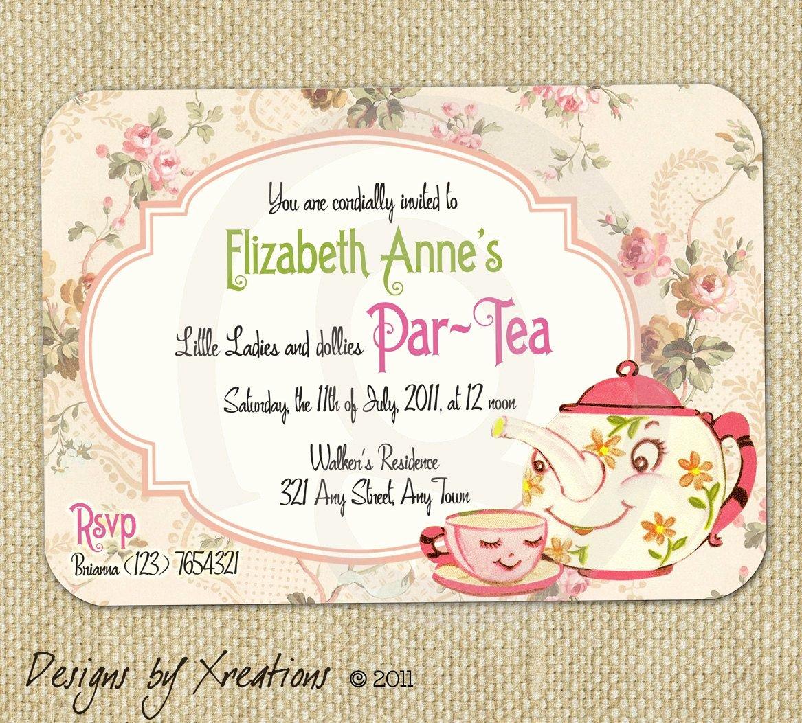 Tea Party Invite Template Best Of Cute Vintage Tea Party Invitation Digital Template