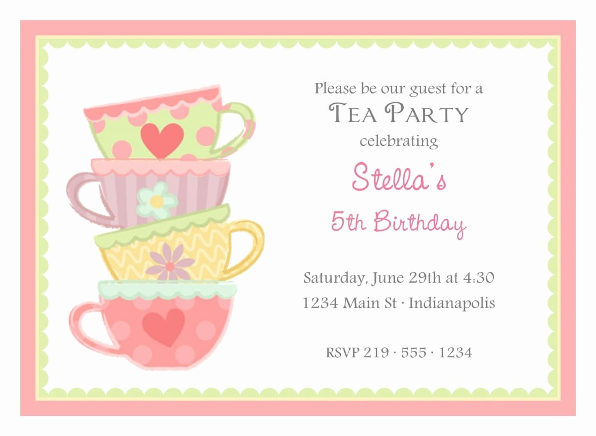 Tea Party Invite Template Best Of Free afternoon Tea Invitation Template