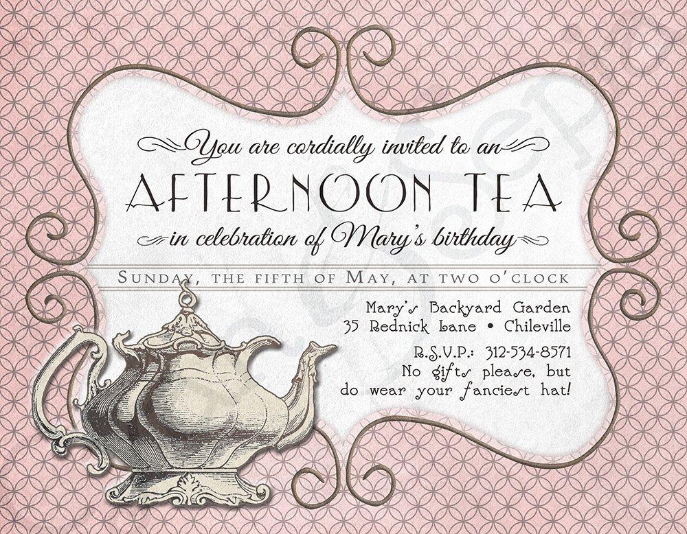 Tea Party Invite Template Elegant Printable Tea Party Birthday Invitation 4 25 X by Cyanandsepia