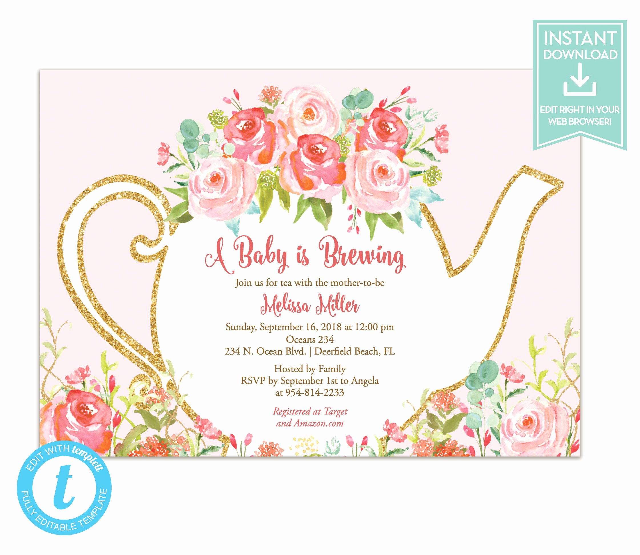 Tea Party Invite Template Elegant Tea Party Invitation Template Floral Teapot Bridal Shower