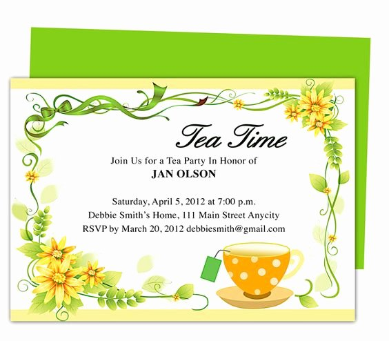 Tea Party Invite Template Lovely Freshness Tea Party Invitation Party Templates Printable