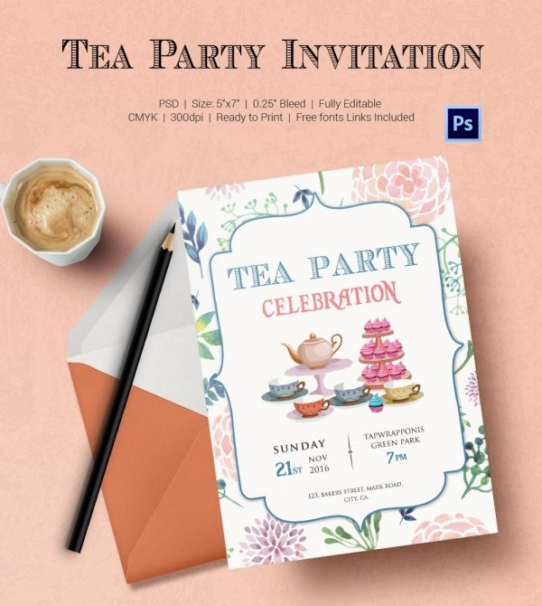Tea Party Invite Template New Tea Party Invitation Template 40 Free Psd Eps