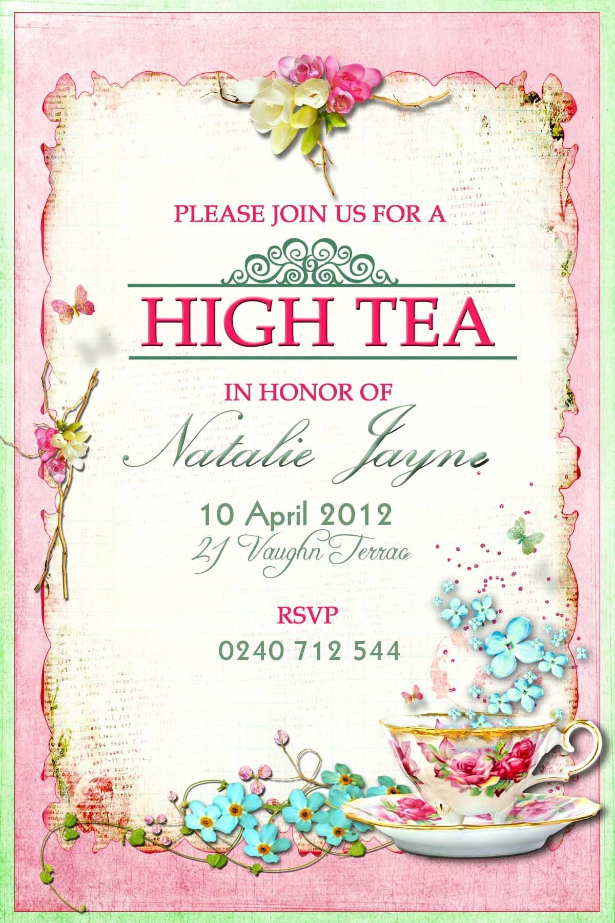 Tea Party Invite Template New Victorian High Tea Party Invitations Surprise Party