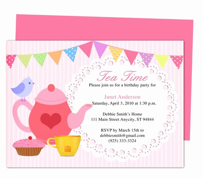 Tea Party Menu Template Fresh afternoon Tea Party Invitation Party Templates Printable