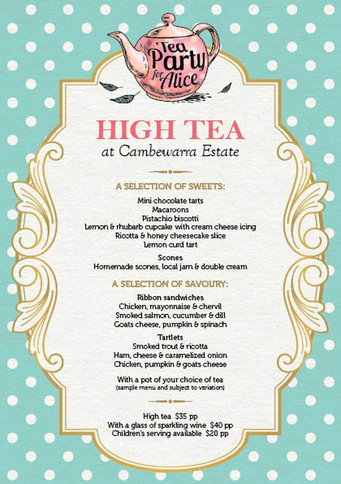 Tea Party Menu Template Inspirational Cambewarra Estate Restaurant Cambewarra Estate
