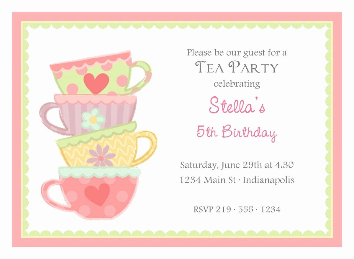 Tea Party Menu Template Luxury Free Printable Girls Tea Party Invitations
