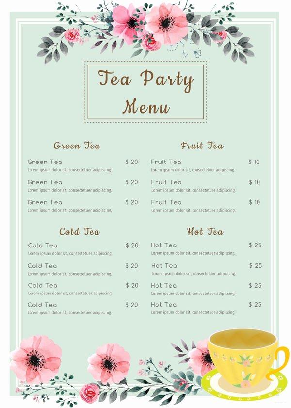 Tea Party Menu Template New 7 Tea Party Menu Templates Designs Templates
