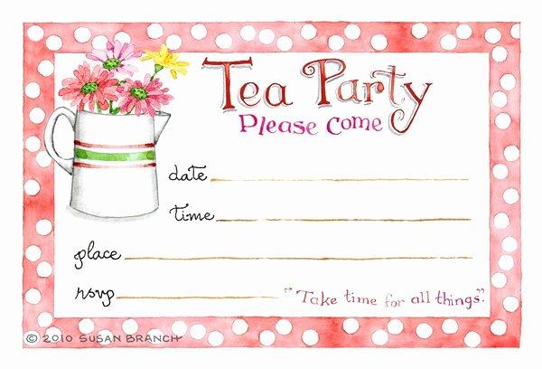 Tea Party Menu Template New Tea Party Blank Invitations