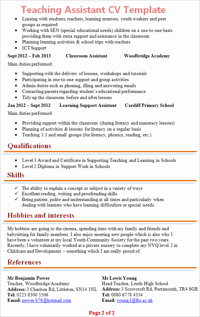 Teacher Curriculum Vitae Template Awesome Teaching assistant Cv Template 2