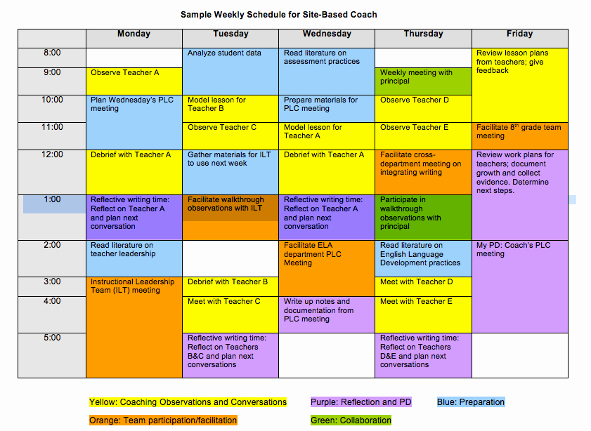 Teacher Daily Schedule Template Beautiful What Can A Coach S Schedule Look Like the Art Of