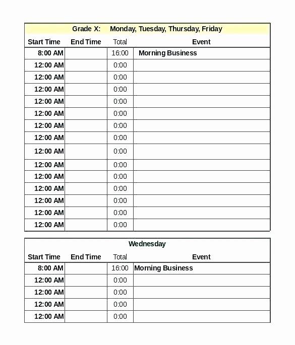 Teacher Daily Schedule Template Inspirational Blank Daily Schedule Template for Teachers Editable School