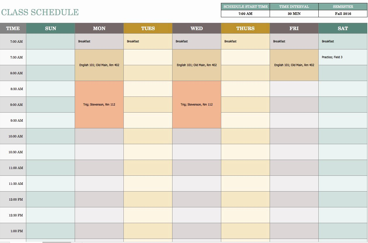 Teacher Daily Schedule Template Inspirational Free Weekly Schedule Templates for Excel Smartsheet