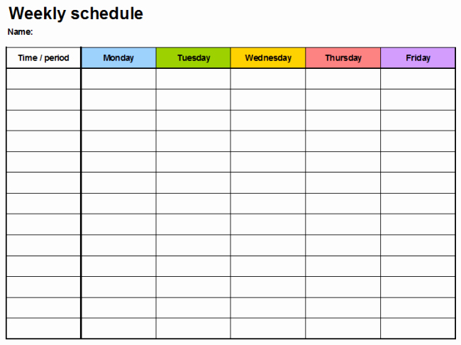 Teacher Daily Schedule Template Lovely Weekly Planner Template