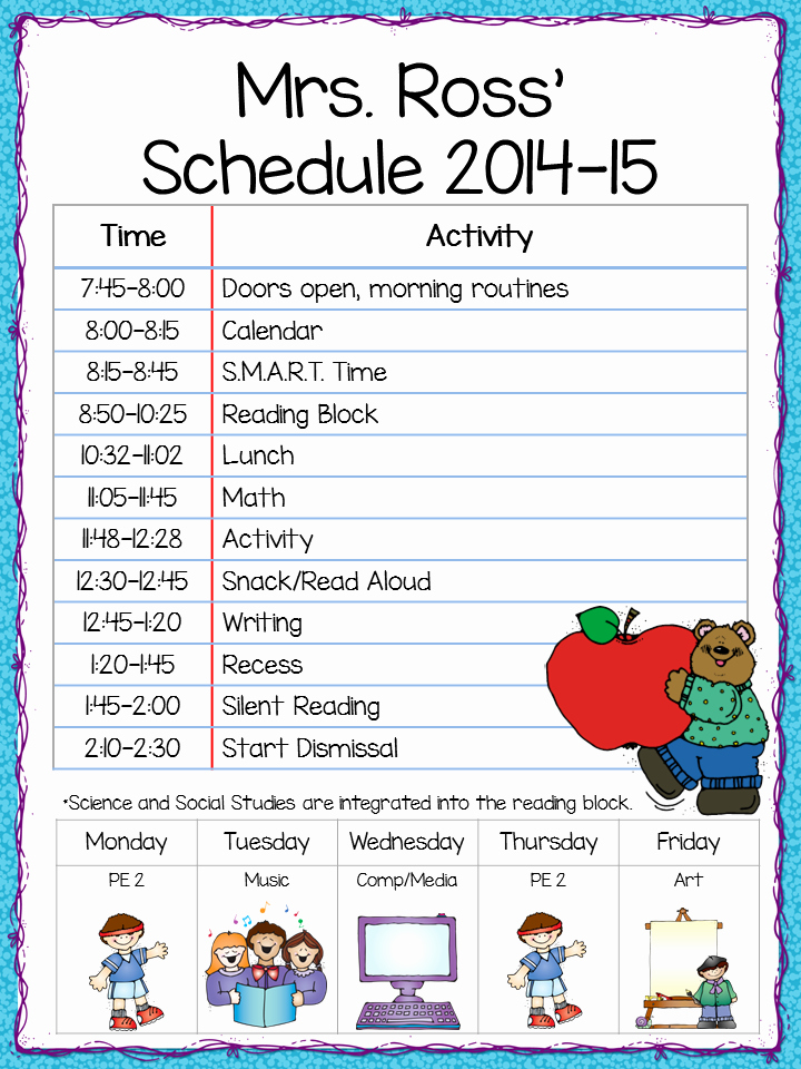 Teacher Daily Schedule Template New Class Schedule Freebie Teacher by the Beach