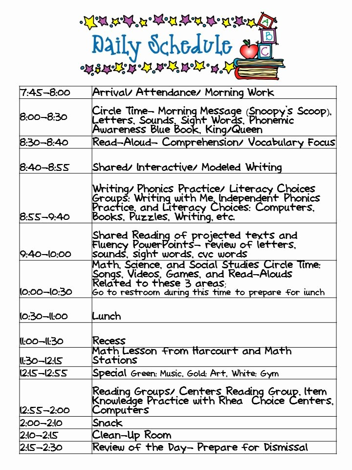 Teacher Daily Schedule Template New Kindergarten Celebration Daily Schedule