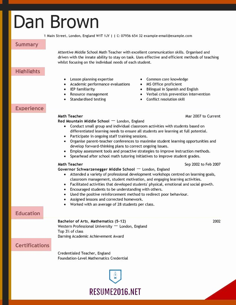 Teacher Resume Template Free Awesome Resume Examples 2016 Archives • Resume 2016