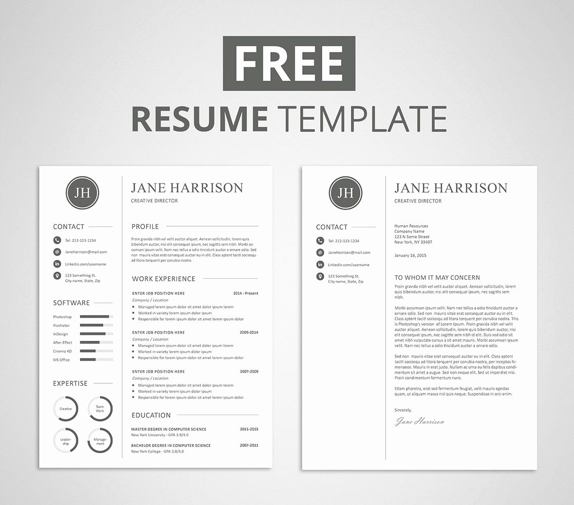 Teacher Resume Template Free Beautiful Free Modern Resume Template that Es with Matching Cover