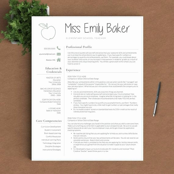 Teacher Resume Template Free Fresh Best 25 Teacher Resume Template Ideas On Pinterest