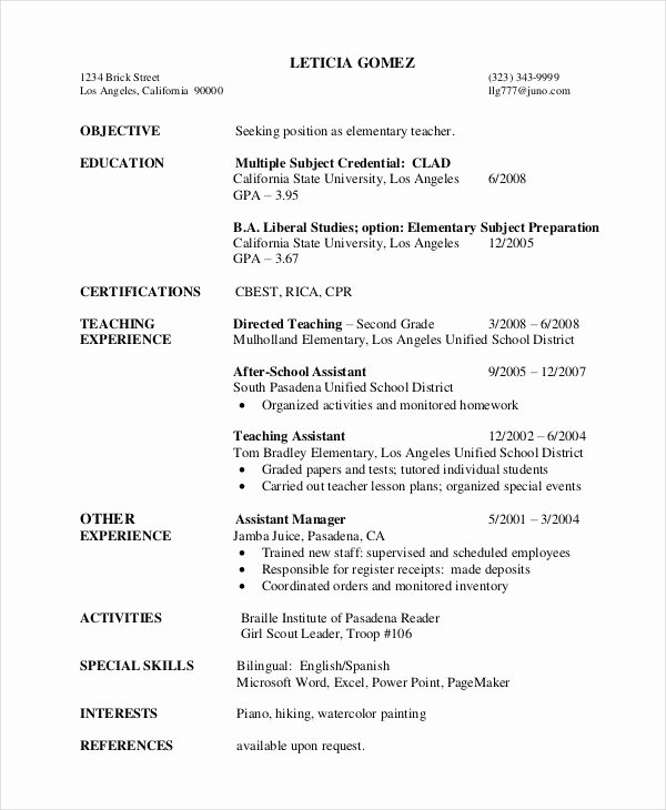 Teacher Resume Template Word Beautiful First Year Teacher Resume Template Best Resume Collection