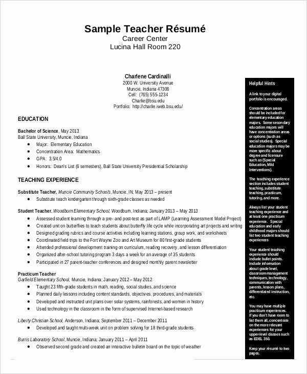Teacher Resume Template Word Best Of Free Teacher Resume 40 Free Word Pdf Documents