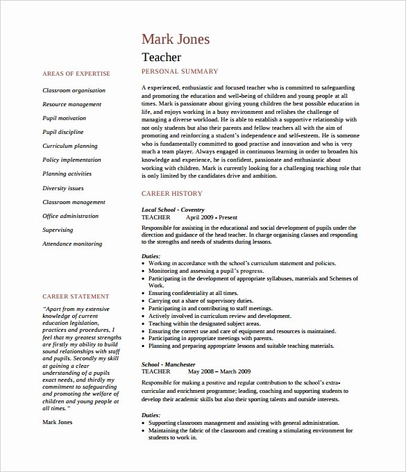 Teacher Resume Template Word Elegant 50 Teacher Resume Templates Pdf Doc