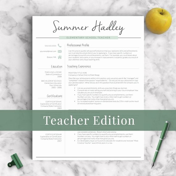Teacher Resume Template Word Fresh Teacher Resume Template for Word and Pages 1 3 Page Educator