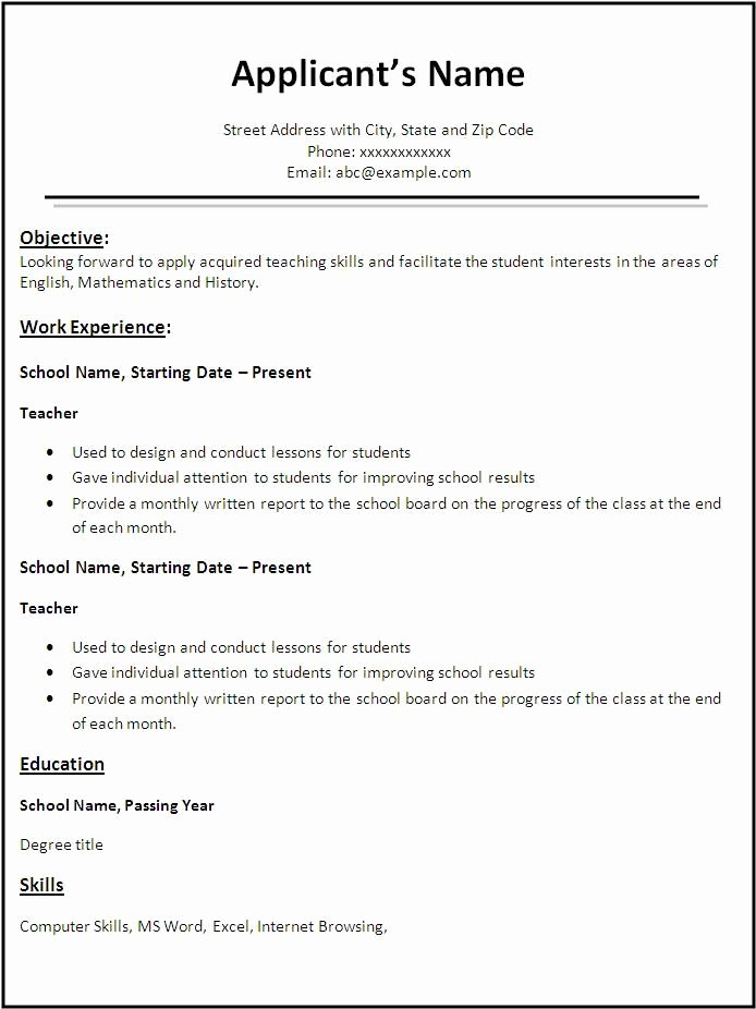 Teacher Resume Template Word Inspirational Pin by Jobresume On Resume Career Termplate Free