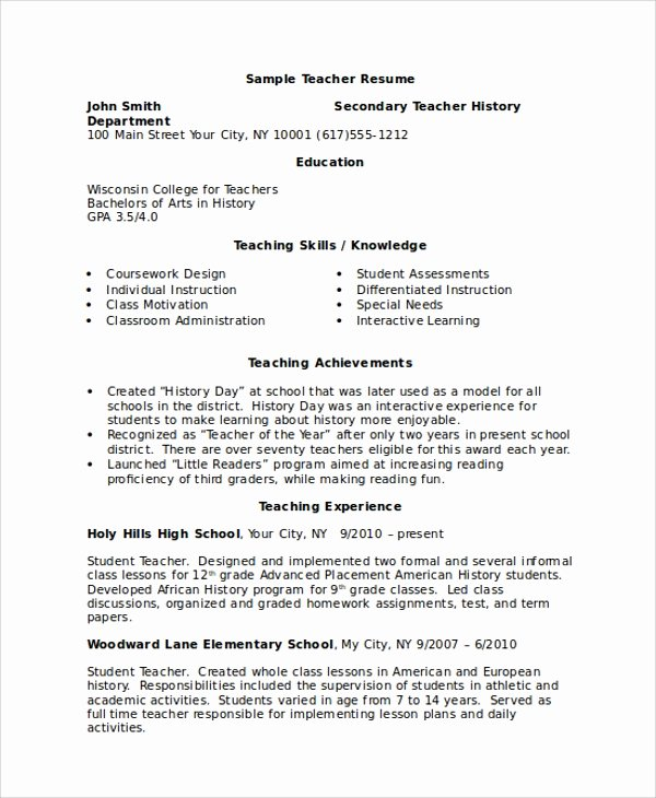 Teacher Resume Template Word Lovely 8 Sample Resumes In Word