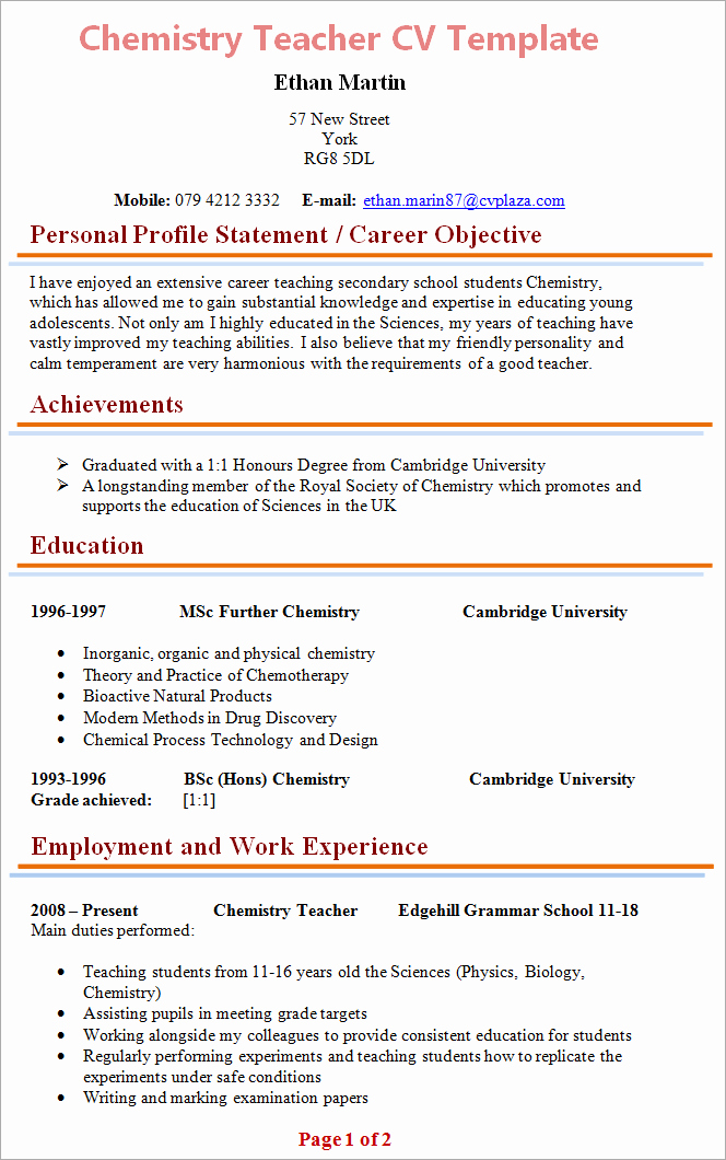 Teacher Resume Template Word Lovely Chemistry Teacher Cv Template 1
