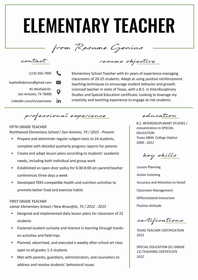 Teacher Resume Template Word Lovely Elementary Teacher Resume Samples & Writing Guide