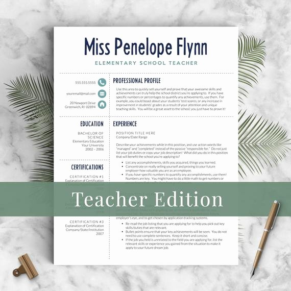 creative teacher resume template for