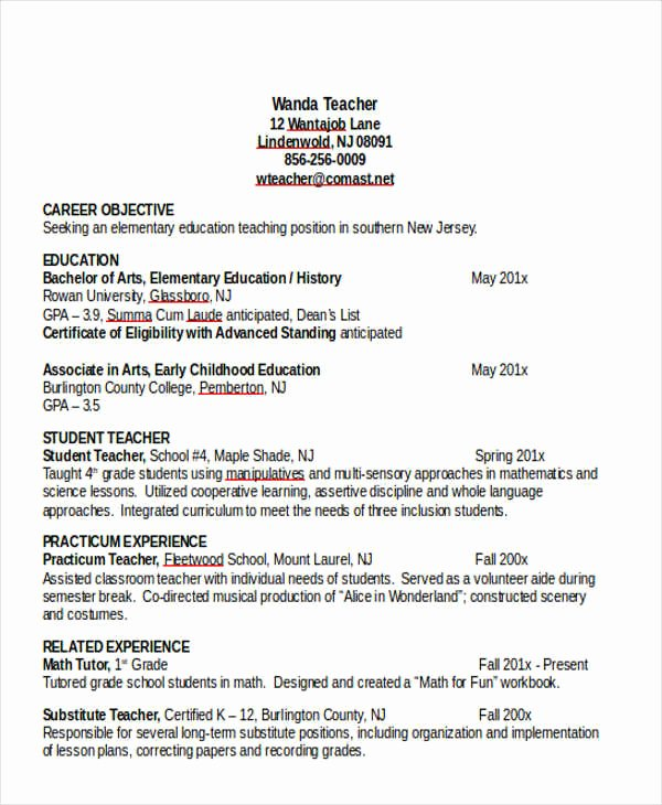 Teacher Resume Template Word New 25 Teacher Resume Templates In Word