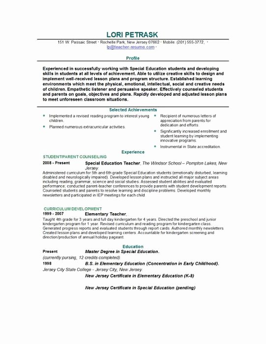 Teacher Resume Template Word Unique Teacher Resume Templates