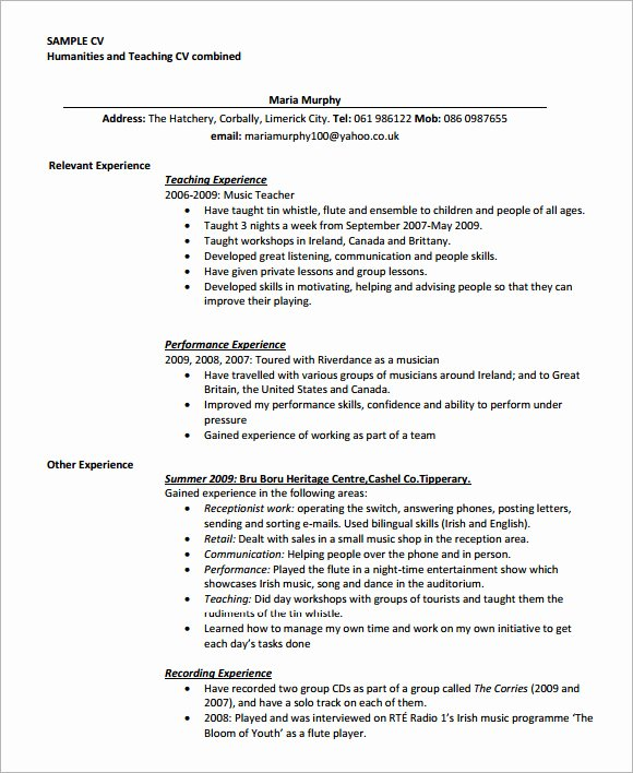 Teacher Resume Template Word Unique Teaching Cv Template 9 Download Free Documents In Pdf Word