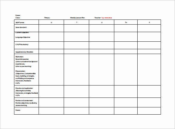 Teacher Weekly Planner Template Best Of Teacher Lesson Plan Template 8 Free Sample Example